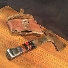 Vintage Hatchet Axe Colored Handle & Leather Sheath PRIORITY MAIL