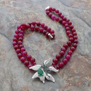 "18""-19'' 2 Rows Fuchsia Agate Necklace CZ Flower Pendant"