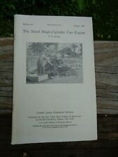 Vtg 1930 Cornell Extension Bulletin Small Single-Cylinder Gas Engine,Hit-&-Miss