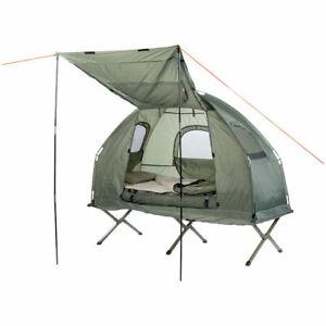 Semptec 4in1-Zelt mit Feldbett, Winter-Schlafsack, Matratze und Sonnenschutz
