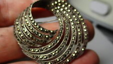 STERLING SILVER 925 ESTATE VINTAGE MARCASITE SWIRL 1.5 INCH PIN BROOCH REPAIR