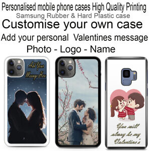 Personalised for Samsung Phone Rubber/ Hard Plastic case. Single Image & Text