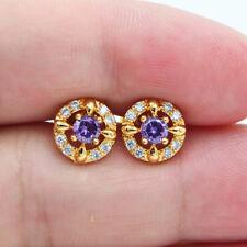 18K Yellow Gold Filled Mystical Women Purple Topaz Zircon Small Stud Earrings