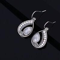 Vintage 925 Silver Pear Natural Rainbow Moonstone Drop Dangle Hook Earrings