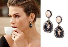 E948 Betsey Johnson Vintage Downton Abbey Moon Stone Gemstone Gold Earrings   UK