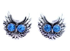 Vintage blue crystal eye silver owl head stud earrings