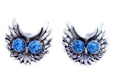 Vintage blue crystal eye silver owl head stud earrings