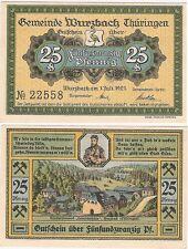 Alemania 25 Pfennig 1923 Notgeld Wurzbach AU-NO CIRCULADO Billete