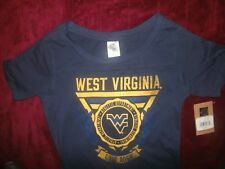 West Virginia Mountaineers Short Sleeve T-Shirt Navy Blue Ladies Size M (B146)
