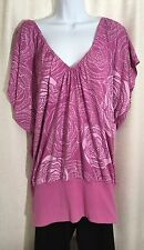 MISS CHIEVOUS Womens Size Plus 2X Purple Floral Stretch Pleated V-Neck TOP Shirt