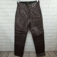 Vintage Brooks Men's Size 34 x 29 Brown Distressed Leather Motorcycle Pants