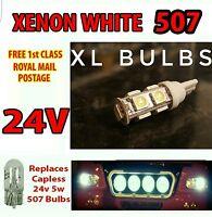 4 x White XL LED 24v Capless Side Light 501 W5W 5 SMD T10 Wedge Bulbs HGV Truck