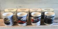 Lot of 4 Vintage Leanin' Tree Train Railroad Mugs Coffee Cups With Boxes