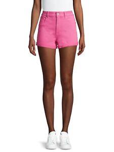 """No Boundaries Juniors High Rise Denim Shorts Size 3 Pink Cuffed 3"""" Inseam"""