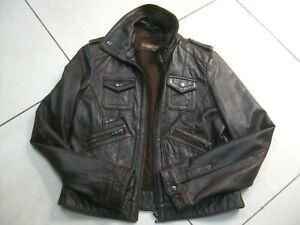 Ladies NEXT brown real soft leather JACKET COAT UK 12 10 biker trucker short