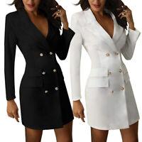 Womens Long Sleeve V Neck Ladies Double Breasted Blazer Mini Dress Office Coat