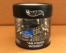 Hot Wheels '48 Ford Woody Wagon Tire Car in Oil Can Display Case Die-Cast 1:64