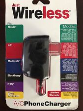 JUST WIRELESS A/C PHONE CHARGER 04222 FITS NOKIA LG MOTOROLA BLACKBERRY HTC
