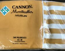 CANNON Monticello Muslin Gold Ivory Striped Standard Pillowcases/2 NIP Vintage