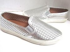 J Crew Silver Perfed Boat Shoes Mocs Loafers 9 EXC