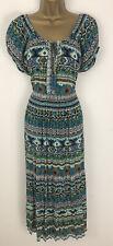 Arista Maxi Dress Black Blue Aztec Stripe Crinkly Short Sleeve Size 14