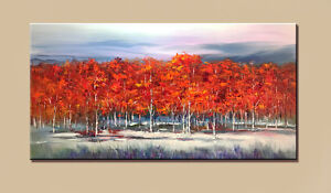 """Large 24""""x48"""" Hand-painted oil painting Red Forest Modern Home decor Unframed"""