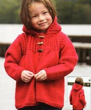 Knitting Pattern Children HOODED Duffel Coat / Jacket Chunky Yarn/wool