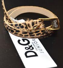 NWT Authentic Dolce & Gabbana Girl's Cheetah Animal Print Leather Belt (Large)