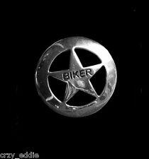 LONE STAR POLISHED CHROME BIKER VEST PIN TEXAS MOTORCYCLE JACKET PIN  MADE USA