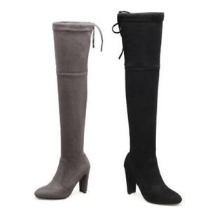 Women's Suede Fabric Outdoor Block High Heel Pointy Toe Pull On Overknee Boots D