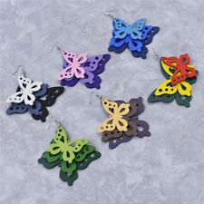1pair Women Wood Multi-layer Butterfly Earrings Ear Studs Statement Jewelry Cute