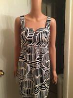 Trina Turk Womens Sleeveless Square Neck Mini Sheath Dress Geometric Lined Sz 4