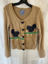 Knitted Dove Sweater Cardigan Sz S Vintage Disney Tan Navy Blue Long Sleeve