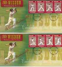 WISDEN CRICKET SIR DON BRADMAN GRENADA 2000 Set of 8v on 2 First Day Covers