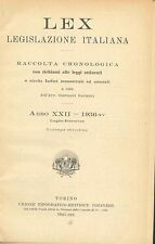 LEX - LEGISLAZIONE ITALIANA - 1936 - LUGLIO-DICEMBRE