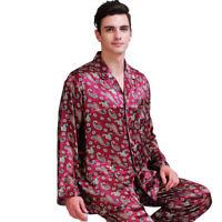 Mens Silk Satin Long Pajamas Set pajamas for men Silk sleepwear__For XMAS Gift