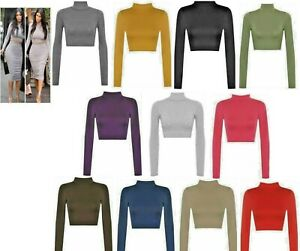 Ladies Polo Turtle Neck Short Crop Women Long Sleeve Summer TShirt Vest Tee Top