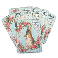 NEW Rabbit Thank You Vintage Blank Note Cards Baby Gift Shower Set- 6 -Envelopes