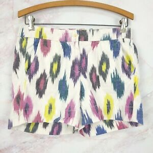 J Crew Women Off White Multi Color Ikat Geometric Print Cotton Linen Shorts Sz 4
