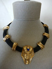 OOAK RRD RON RIZZO DESIGNS BLACK LEATHER COLLAR / GOLD-TONE KING TUT NECKLACE