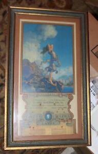 Framed Original Maxfield Parrish 1935 Ecstasy Calendar Trimmed bottom no pad