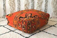 Moroccan Floor cushion Moroccan Vintage Handmade wool pouf orange Floor pillow
