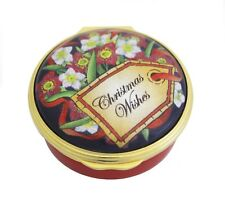 """Halcyon Days, """"Christmas Wishes"""" Holiday Enamel Box, New In Box"""