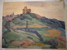 Lucien JEAY (Bordeaux 1911-1997) DESSIN GOUACHE PAYSAGE CAMPAGNE VILLAGE 1950