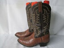 Imperial Brown Bull Hide Leather Two Tone Cowboy Boots Size 9.5 D USA