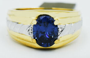 AAA BLUE 2.14 Cts TANZANITE & GENUINE DIAMONDS RING 10K GOLD * New With Tag
