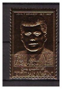 s14603) UMM AL QIWAIN 1967 MNH** Kennedy Gold Foil 1v