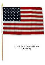 "12x18 12""x18""  USA American 50 Star Grave Marker Stick Flag"