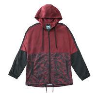 Men's Floar Casual Hood Lightweight Windbreaker Active Jacket Oxblood Black