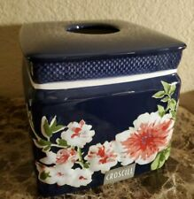 New Croscill Nara Blue Floral Tissue Box Cover Holder
